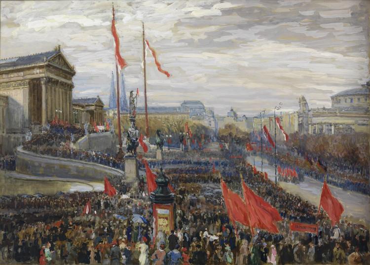Die Ausrufung der Republik vor dem Parlament in Wien am 12. November 1918, Gemälde von Rudolf Konopa, 1918; © Wien Museum
